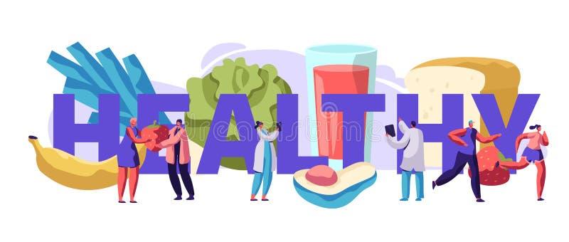 Neuer gesunder Nahrungsmitteltypographie-Fahnen-Entwurf Organische Mahlzeit für Diät-Diabetes-Gesundheits-Konzept Salat-und Fruch vektor abbildung