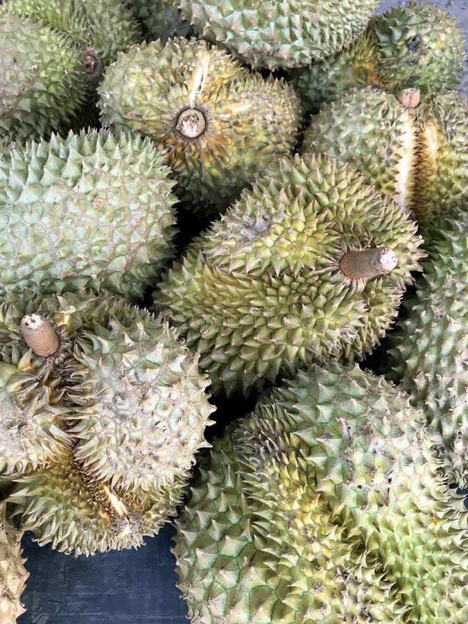 Neuer grüner Durianfrucht-Beschaffenheitshintergrund Markt in Thailand lizenzfreie stockbilder