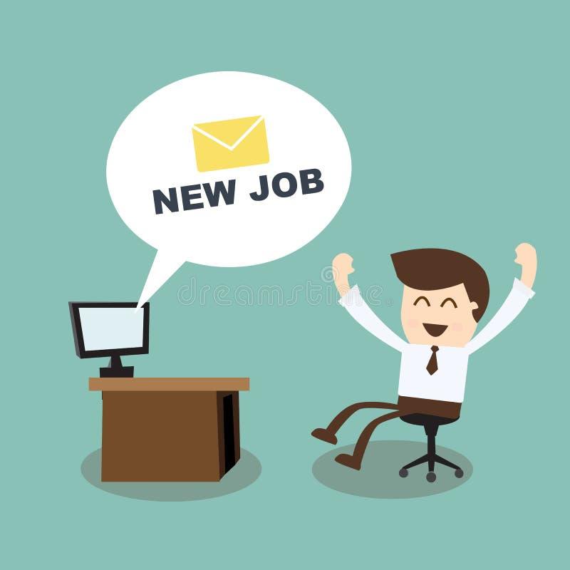 Neuer Job - glücklicher Geschäftsmann mit neuem Mitteilungscomputer im Büro stock abbildung