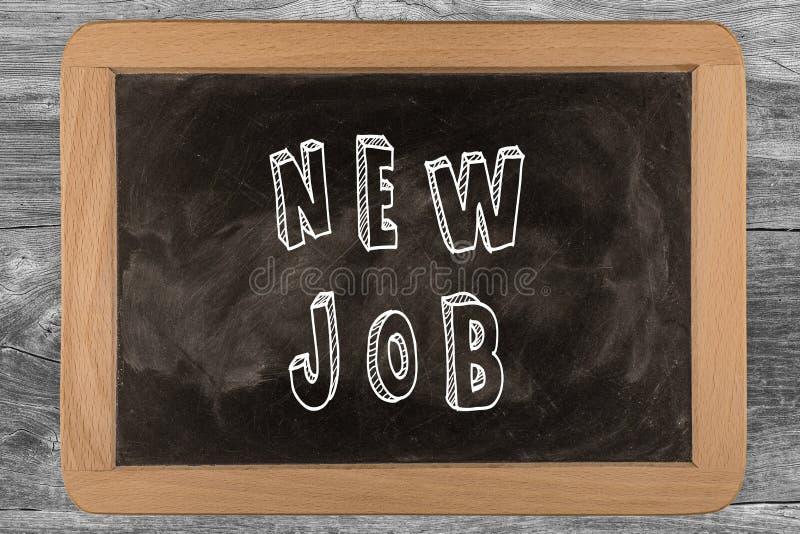 Neuer Job - Tafel mit 3D umriß Text - auf Holz stockbild