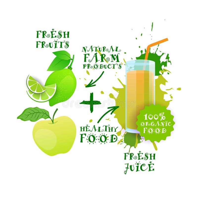Neuer Juice Healthy Cocktail Apple And-Kalk-Logo Natural Food Farm Products-Aufkleber vektor abbildung
