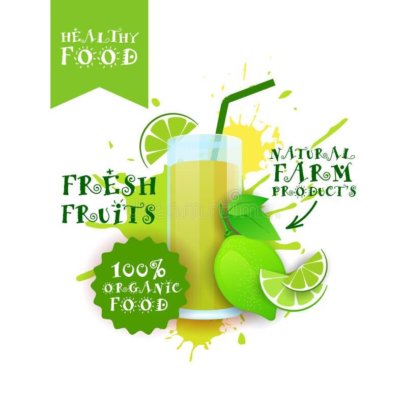 Neuer Kalk-Juice Logo Natural Food Farm Products-Aufkleber über Farben-Spritzen-Hintergrund vektor abbildung