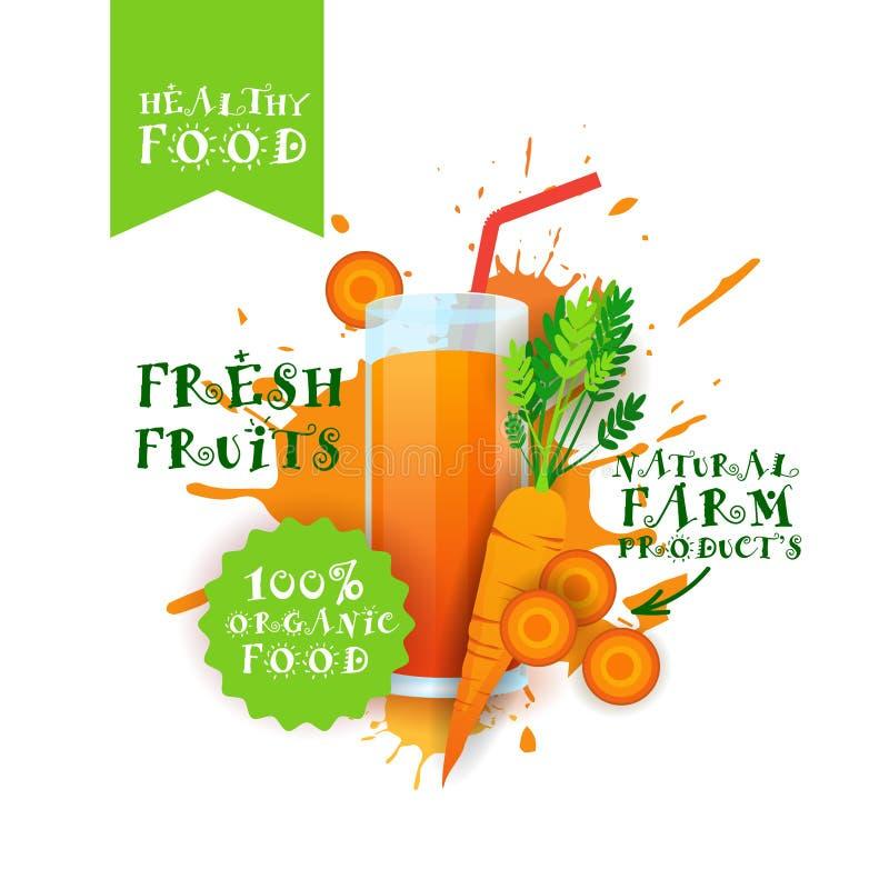 Neuer Karotten-Juice Logo Natural Food Farm Products-Aufkleber über Farben-Spritzen-Hintergrund lizenzfreie abbildung