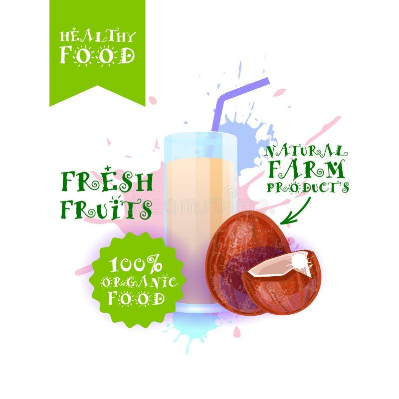 Neuer Kokosnuss-Juice Logo Natural Food Farm Products-Aufkleber über Farben-Spritzen-Hintergrund vektor abbildung