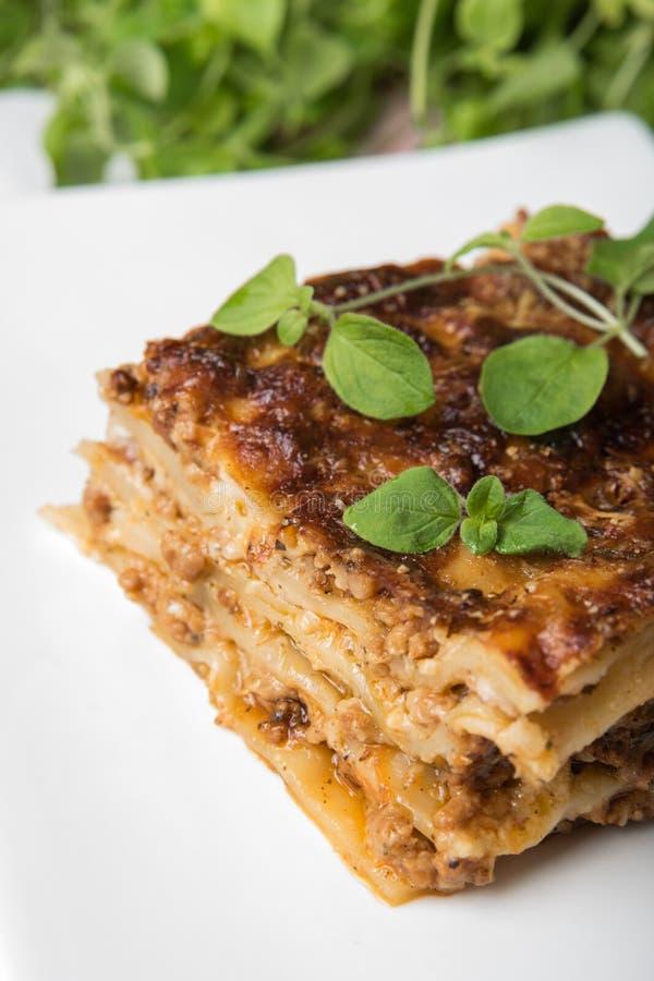 Neuer Lasagne-Teil mit Oregano auf weißem Teller lizenzfreie stockbilder