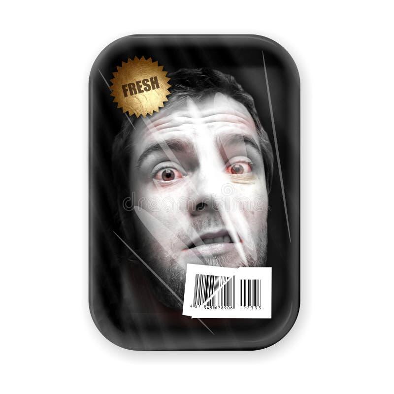 Neuer menschlicher Kopf gepackt im Kasten stockfoto