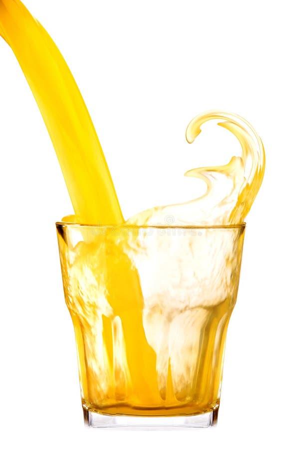 Neues orange Soda- oder Saftgetränk mit Spritzen stockbilder
