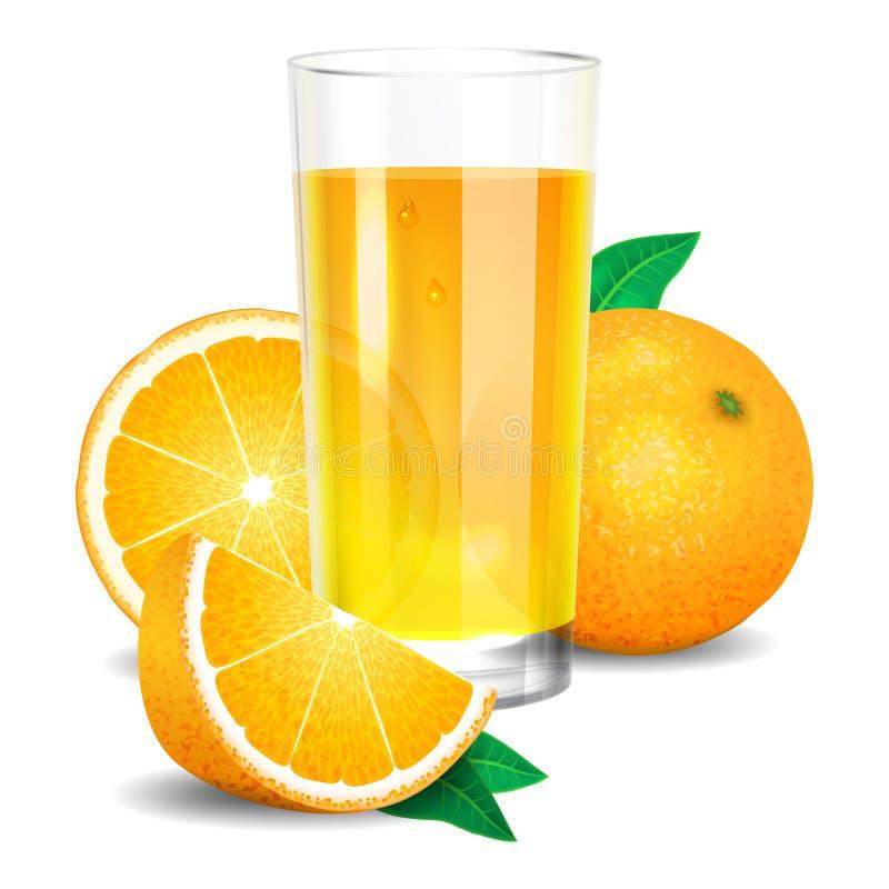 Neuer Orangensaft und Stücke der Orange, Zitrusfruchtsaft vektor abbildung