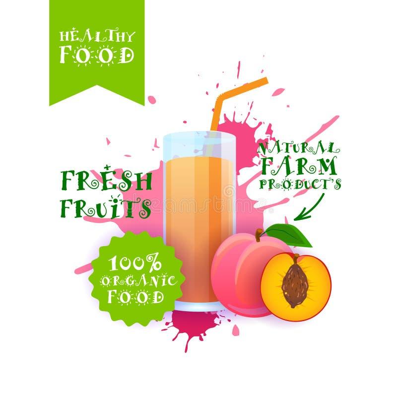 Neuer Pfirsich-Juice Logo Natural Food Farm Products-Aufkleber über Farben-Spritzen-Hintergrund stock abbildung