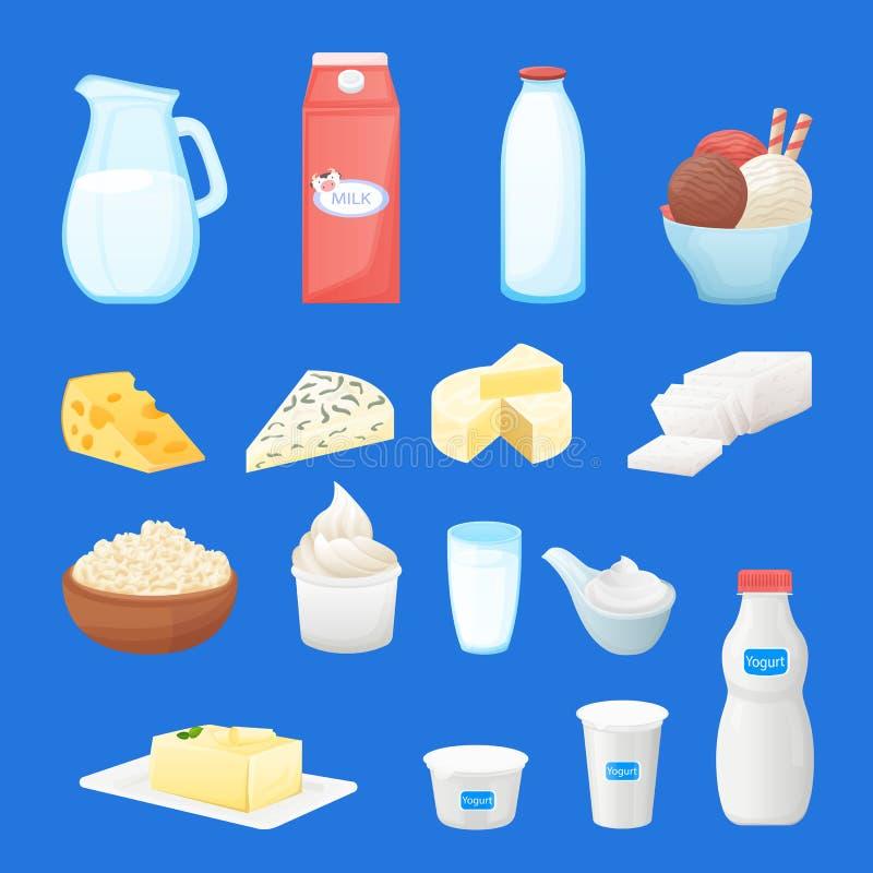 Neuer Produktsatz der Molkerei Gesunde Illustration der Vektorkarikatur Nahrungsmittel Milch, Hüttenkäse, Jogurt, Butterikonen vektor abbildung