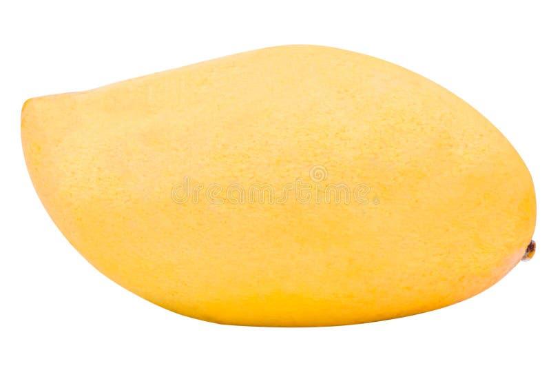 Neuer reifer gelber Mangomakroabschluß oben lokalisiert, Mangofrucht lizenzfreies stockfoto