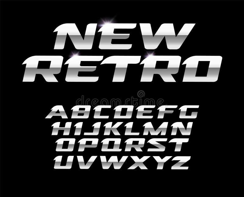Neuer Retro- Buchstabesatz Polierstahlbeschaffenheit, lateinisches Alphabet des Metallartvektors Güsse für futuristischen Entwurf stock abbildung