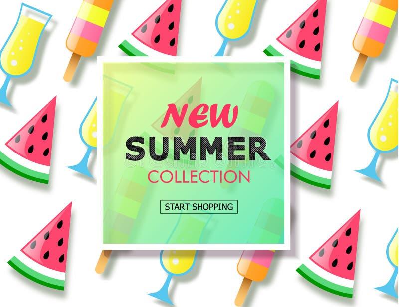 Neuer Sommerkollektionsverkaufshintergrund mit bunter Eiscreme, Scheibenwassermelone und Cocktail Vektorillustrationsschablone, F vektor abbildung