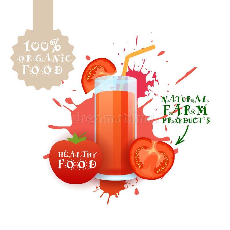 Neuer Tomaten-Juice Logo Natural Food Farm Products-Aufkleber über Farben-Spritzen-Hintergrund vektor abbildung