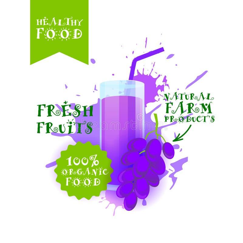 Neuer Trauben-Juice Logo Natural Food Farm Products-Aufkleber über Farben-Spritzen-Hintergrund lizenzfreie abbildung