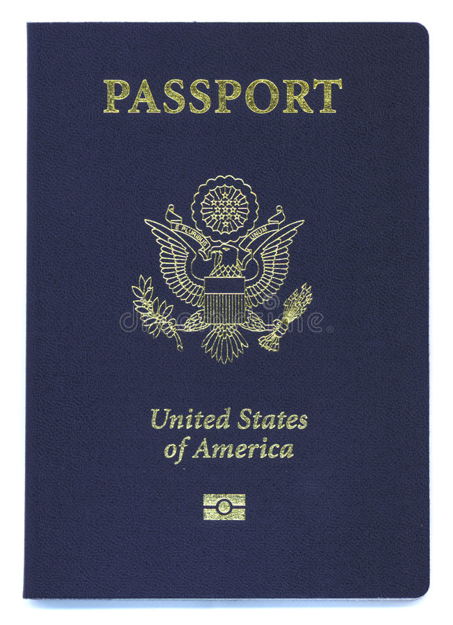 Neuer US-Paß mit Identifikation-Chip stockbild