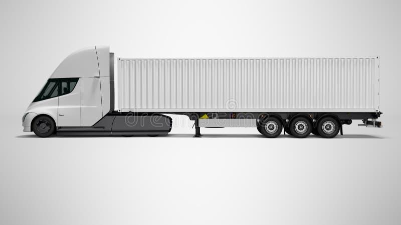Neuer weißer elektrischer Traktor mit linker Ansicht 3d des Anhängers auf grauem Hintergrund mit Schatten übertragen vektor abbildung