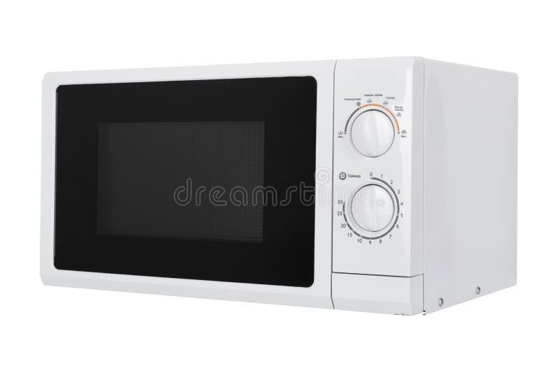 Neuer weißer Mikrowellenherd lokalisiert auf weißem Hintergrund lizenzfreie stockbilder