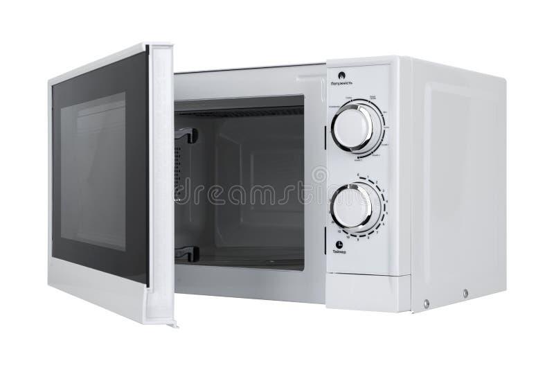 Neuer weißer Mikrowellenherd lokalisiert auf weißem Hintergrund lizenzfreie stockfotografie