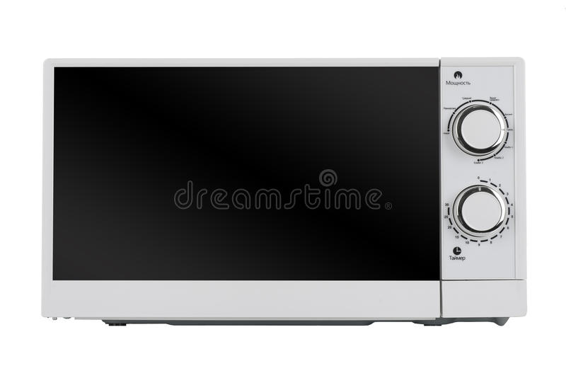 Neuer weißer Mikrowellenherd lokalisiert auf weißem Hintergrund lizenzfreies stockbild