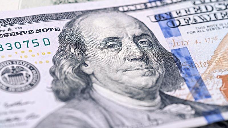Neues amerikanisches Geld der Nahaufnahme hundert Dollarschein Benjamin Franklin-Porträt, wir 100-Dollar-Banknotenfragmentmakro lizenzfreies stockbild