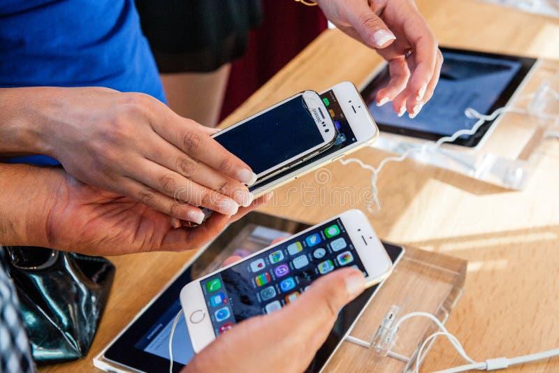Neues Apple-iPhone 6 und iPhone 6 Plus stockfotografie