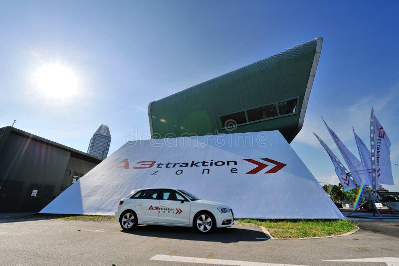 Neues Audi A3 Sportback auf Anzeige am Zonenereignis A3 Ttraktion lizenzfreie stockbilder
