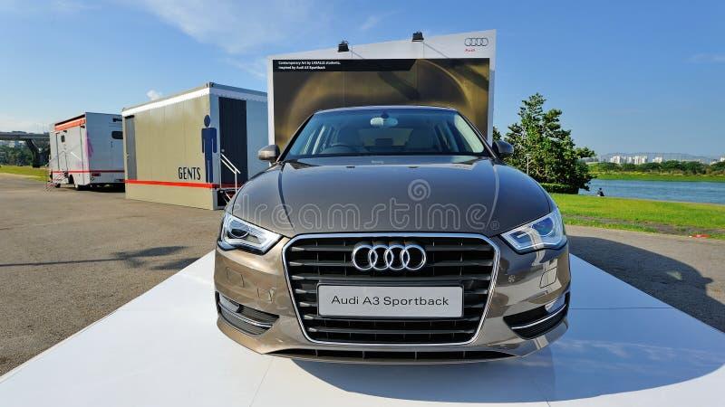 Neues Audi A3 Sportback auf Anzeige am Zonenereignis A3 Ttraktion stockfoto