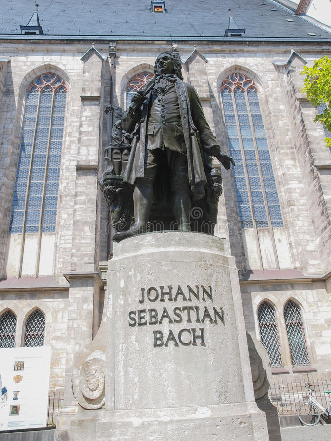 Neues Bach Denkmal. The Neues Bach Denkmal meaning new Bach monument stands since 1908 in front of the St Thomas Kirche church where Johann Sebastian Bach is stock images