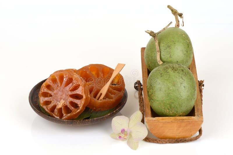 Neues bael und Süßigkeit bael, Frucht von Thailand lizenzfreies stockfoto