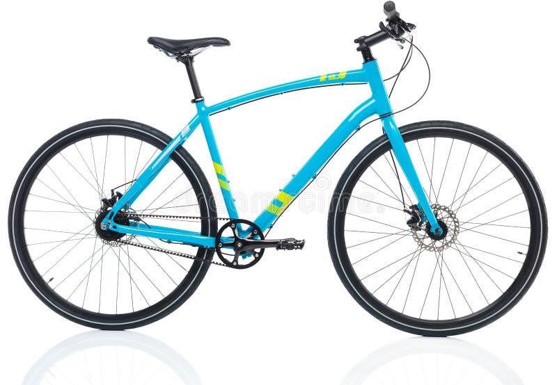 Neues blaues Fahrrad lokalisiert auf einem Weiß stockbild