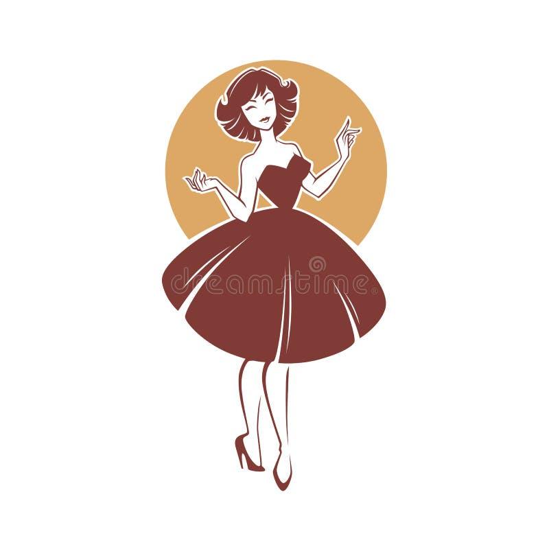 Neues Blickartmädchen, vector Retro- Dame für Ihr Logo, Aufkleber, emb stock abbildung