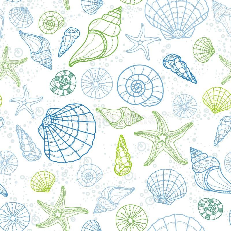Neues buntes nahtloses Muster mit verschiedenen Oberteilen, Muscheln, Starfish und Schnecken, Spaß unter dem Wasserhintergrund, g lizenzfreie abbildung