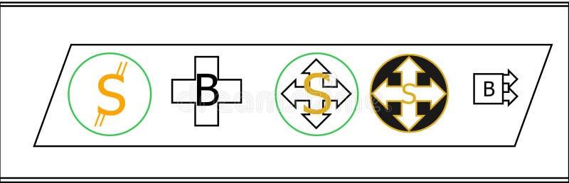 Neues cryptocurrency fünf Münzenlogo lizenzfreie abbildung