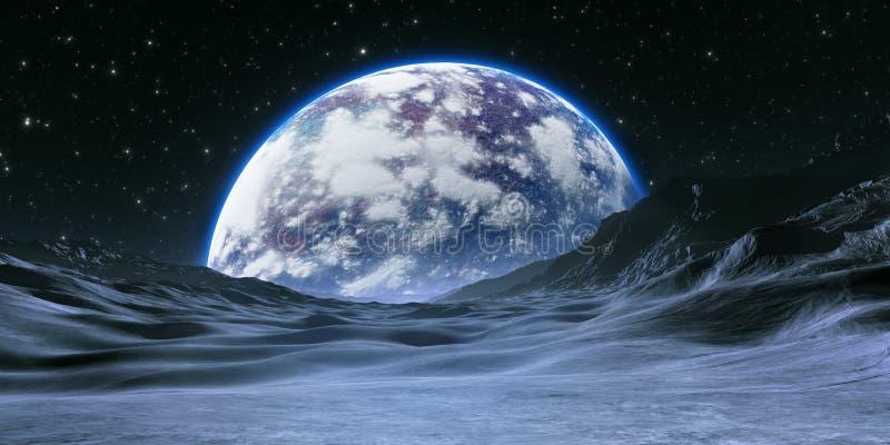 Neues Exoplanet oder Extrasolar Planet mit Atmosphäre und Mond stock abbildung
