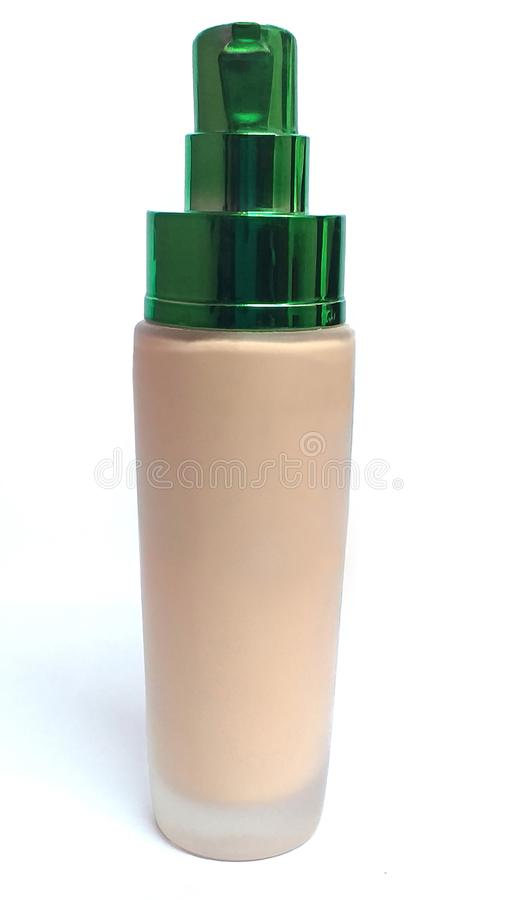 Neues Flaschenglas mit grünem Kap lizenzfreie stockfotografie