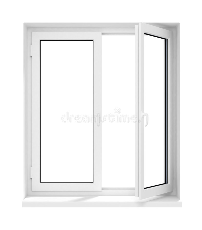Neues geöffnetes Plastikglasfensterfeld getrennt stock abbildung