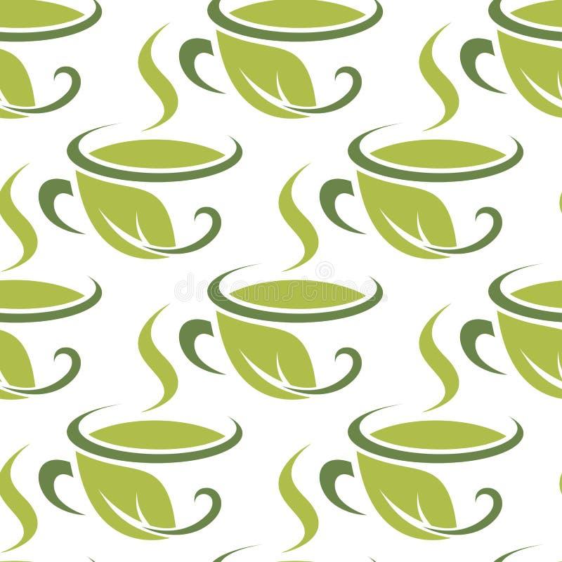 Neues grünes nahtloses Muster des Kräutertees lizenzfreie abbildung