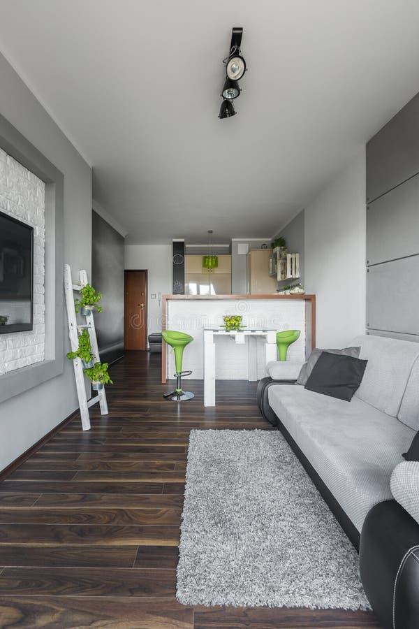 Neues graues Wohnzimmer stockfotografie