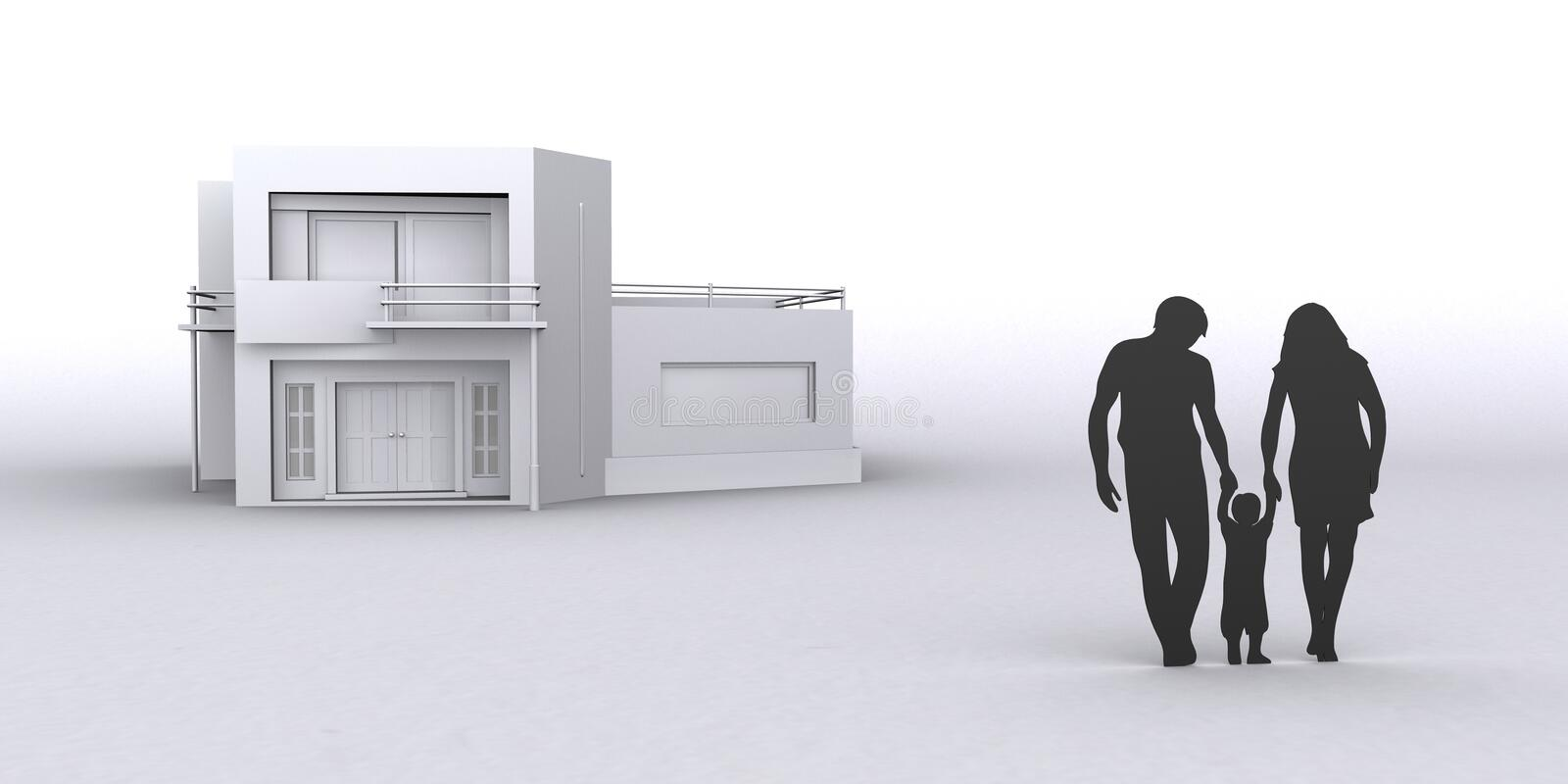 Neues Haus des Familienkaufes, Illustration der Grafik 3D stockfoto