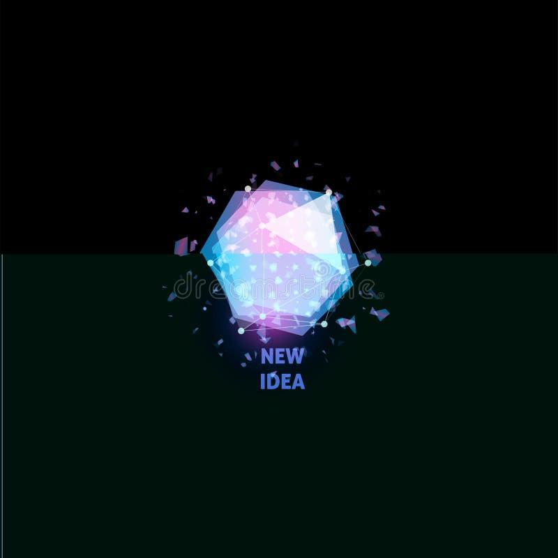 Neues Ideenlogo, Glühlampezusammenfassungsvektorikone Lokalisierte rosa und blaue Polygone formen, stilisierten Lampe mit Text Di stock abbildung