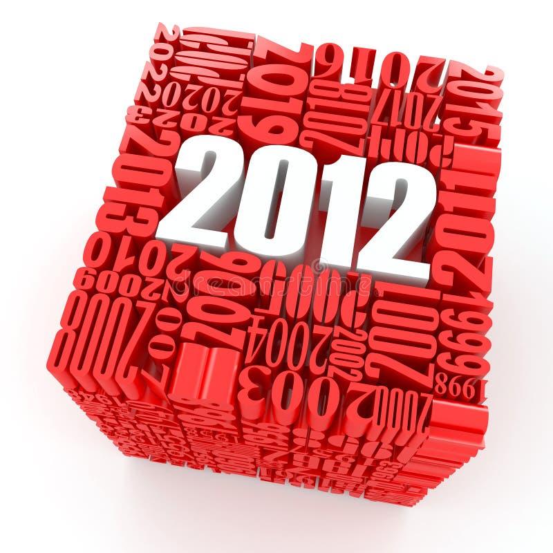 Neues Jahr 2012. Würfel, welche aus den Zahlen besteht vektor abbildung
