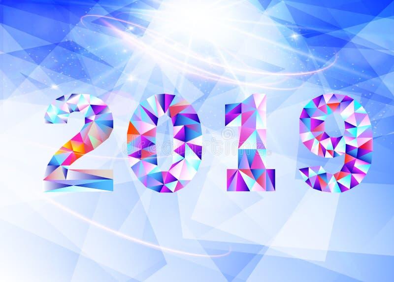 2019 neues Jahr auf dem Hintergrund eines bunten Dreieckgestaltungselements Vektorabbildung EPS10 lizenzfreie abbildung
