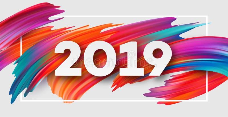 2019 neues Jahr auf dem Hintergrund eines buntes Pinselstrichöl- oder Acrylfarbengestaltungselements Auch im corel abgehobenen Be stock abbildung