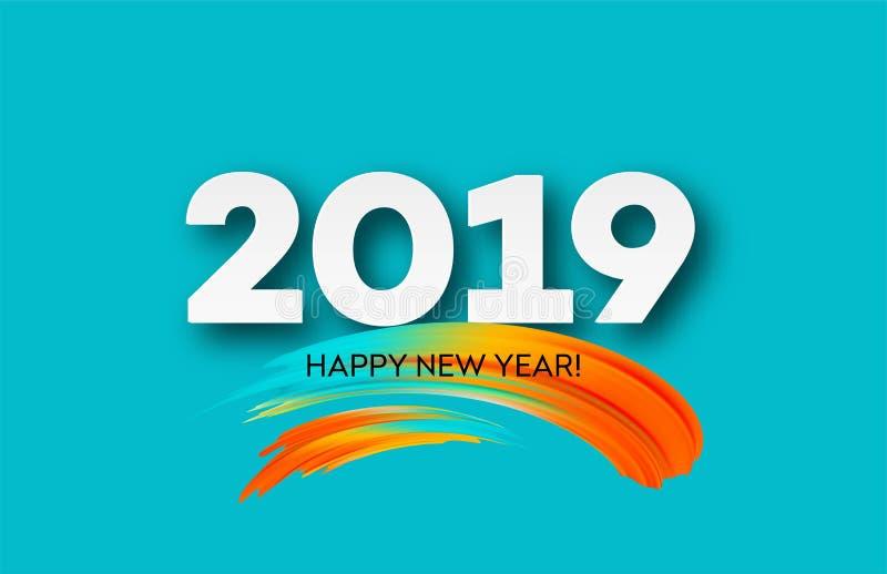 2019 neues Jahr auf dem Hintergrund eines buntes Pinselstrichöl- oder Acrylfarbengestaltungselements Auch im corel abgehobenen Be lizenzfreie abbildung