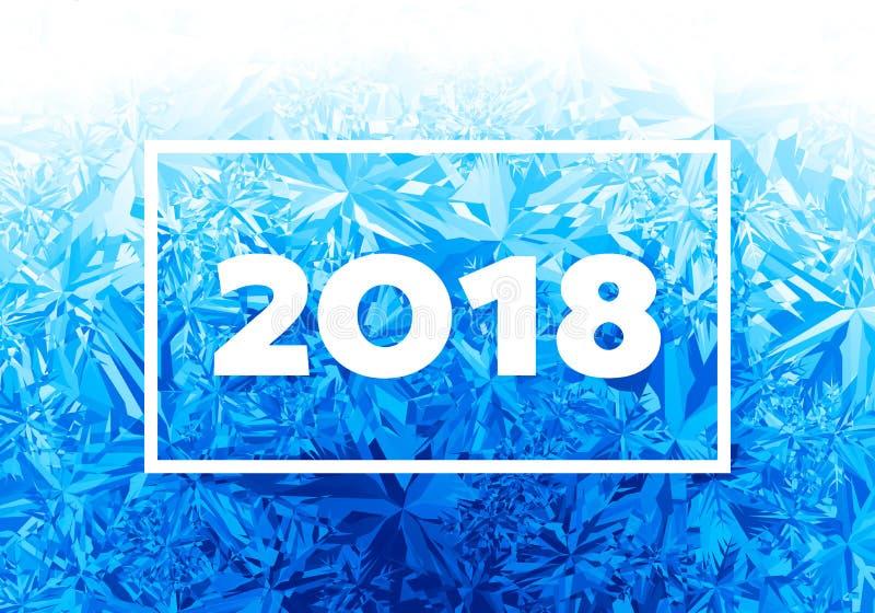 2018 neues Jahr auf Eis bereiftem Hintergrund stock abbildung