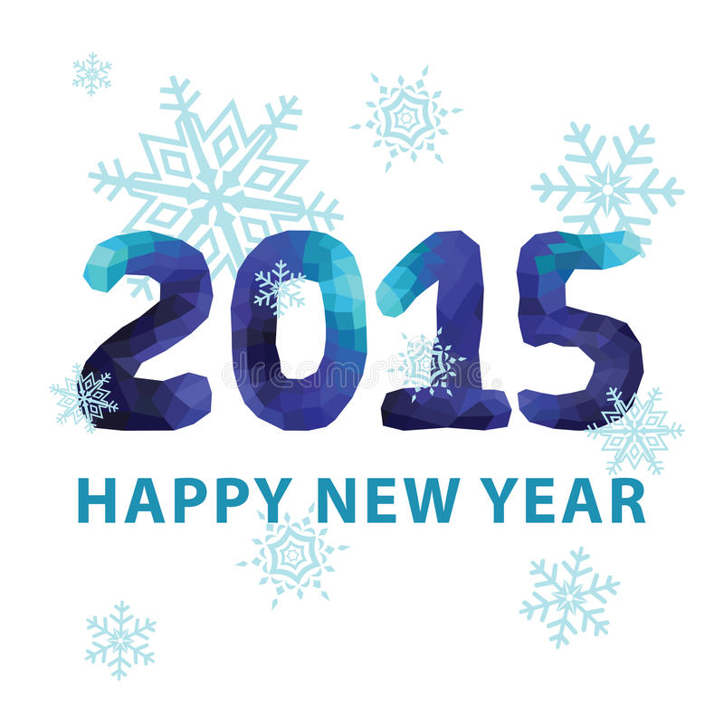 Neues Jahr 2015 Blaue Polygonzahlen mit Schneeflocken lizenzfreie abbildung