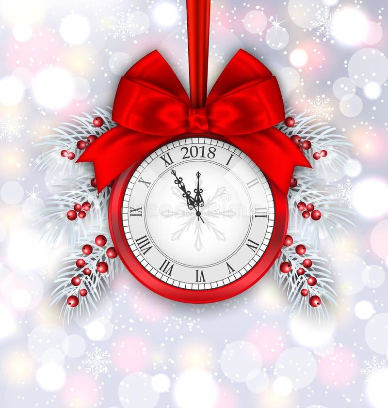 Neues Jahr-Dekoration mit Uhr auf hellem Hintergrund stock abbildung