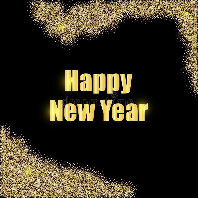 Neues Jahr in den Goldbuchstaben auf einem schwarzen Hintergrund lizenzfreie abbildung