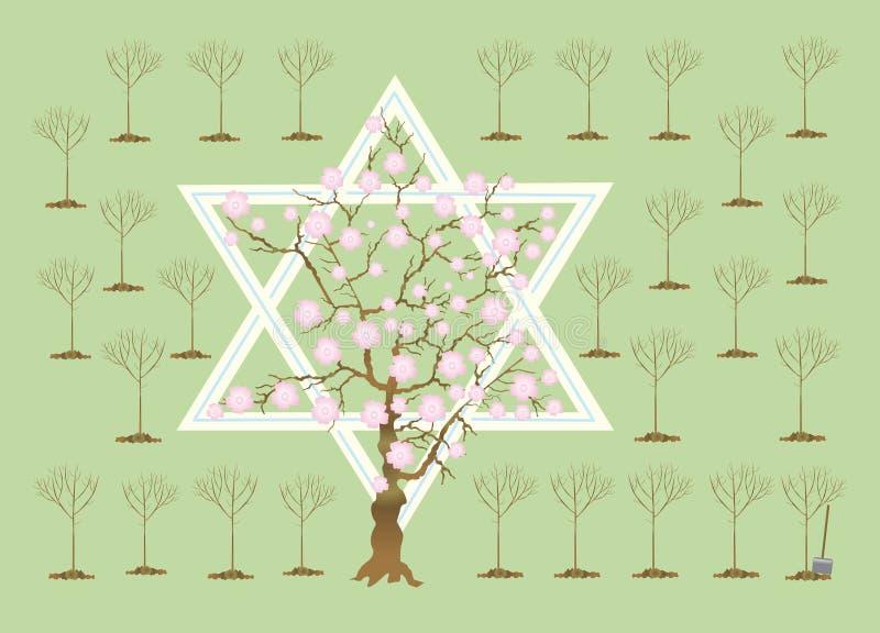 Neues Jahr der Bäume oder des Tu Bi-Shvat vektor abbildung